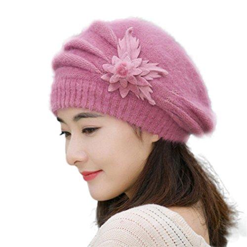 Hut WINWINTOM® Womens Flower Knit Crochet Beanie Hut Winter Warm Mütze Baskenmütze (Lila) (Slouchy Beret Knit)