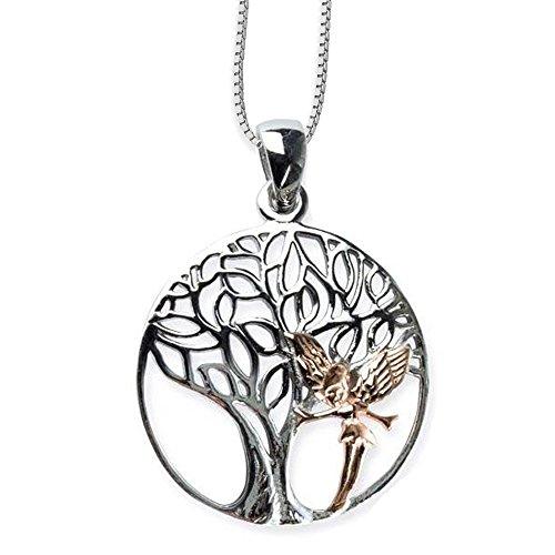 Anhänger Baum des Lebens Keltischer Lebensbaum Weltenbaum 925er Silber Schmuck rhodiniert mit Elfe Rotgold Heilung mit Kette Halskette Silberkette 2403 (Halskette Baum Kleine Mädchen)