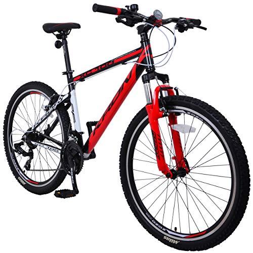 KRON XC-100 Hardtail Aluminium Mountainbike 26 Zoll, 21 Gang Shimano Kettenschaltung mit V-Bremse | 16 Zoll Rahmen MTB Erwachsenen- und Jugendfahrrad | Schwarz & Rot -