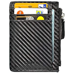 Porta Carte Di Credito - Portafoglio Uomo - Design in Carbonio - Portafoglio Piccolo - Porta Carte Minimal - Blocco RFID 6 spesavip
