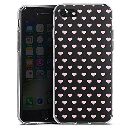 Apple iPhone X Silikon Hülle Case Schutzhülle Herzen Pink Muster Silikon Case transparent