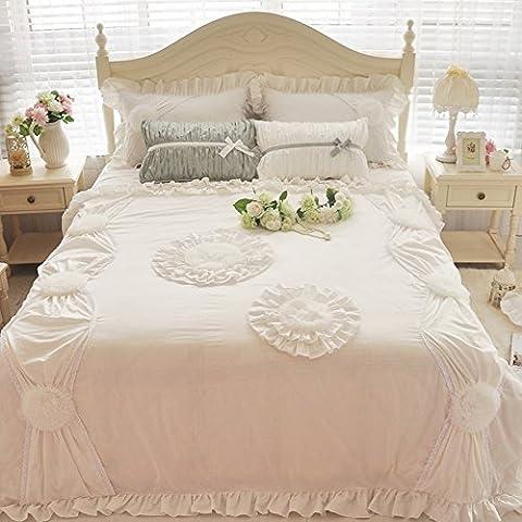 memorecool exquis stéréo couture Parure de lit 100% coton Parure de lit Princesse, élégant, Girly, dentelle bed-skirt Meilleur Qualité de coton, lot de 3, Coton, Blanc,