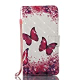 Phcases Samsung J5(2016)/J510 Flip Stand Phone Case Cover,3D Colorful Painting Premium PU Leather Wallet Handset Shell Book style Cellphone Magnetic Closure & Card Slots Protective Pocket-Butterfly.