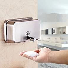 KITSCH Pure Stainlee Steel 304 Heavy Duty RECTA Push Button Liquid Soap, Lotion, Shampoo Dispenser 1000ml (Steel, SS304PUSHRECTA1000MLSOAPDISPENSER)