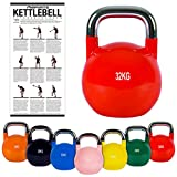 MSPORTS Kettlebell Competition 4-32 kg inkl. Übungsposter | Professional Studio Qualität |...