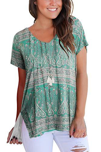 Damen T Shirt V Ausschnitt Kurzarm Floral Loose Fit S -