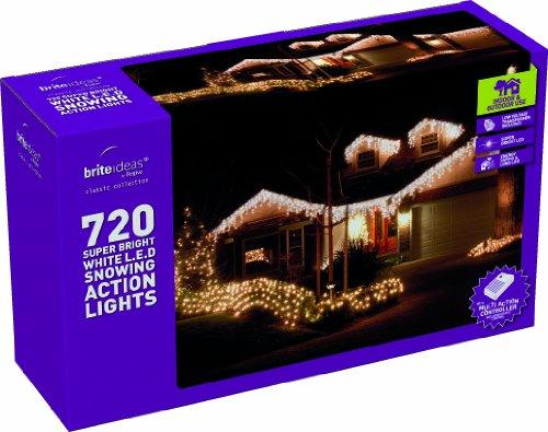 Festive Productions 720 LED Niedrigspannungslichterkette in Eiszapfen-Form mit Fernbedienung für Schneefall-Effekt, Weiß -