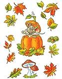 dpr. Fensterbild Set 6-tlg. Maus Kürbis Herbstblätter Kastanie Fliegenpilz Fenstersticker Fensterdekoration Herbstdekoration