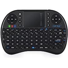 ESYNiC Mini Retroiluminado Teclado Inalámbrico de Diseño Español 2.4GHz Android Teclado Ergonómico con Ratón Touchpad para Smart TV Mini PC Android TV Box PlayStation Xbox HTPC PC Raspberry Pi 3 -
