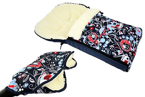 Babys-Dreams *KOMBIPAKET* MUFF + WINTERFUSSSACK 108cm - EULEN $9 - aus Lammwolle für Kinderwagen, Buggy, Radanhänger - WOLLE - Handwärmer