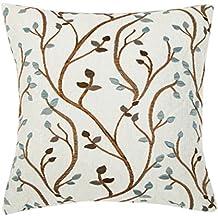 europeo classico copertura del cuscino decorativo Cuscino cuscino di 45,7x 45,7cm Country Style Puff jacquard foglia (due lati jacquard) Blue Leaf