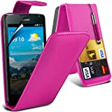 (Hot Pink) Huawei Ascend Y530 Schutzfolie Faux Credit / Debit Card Leder Flip Skin Case Hülle Cover, einziehbare Touch Screen Stylus Pen & LCD Screen Protector Guard von Spyrox