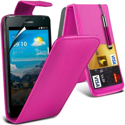 (Hot Pink) Scheda di Huawei Y530 protezione Faux di Credito