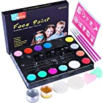 Face Paint Set for Kids Children Professional Face & Body Painting Kit for Halloween Christmas Party Makeup Palette by Meco - Sensitive Skin - 14 Colors, 3 Brushes, 30 Stencils, 3 Sponges, 2 Glitters