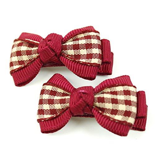 rougecaramel - Accessoires cheveux - Pince cheveux enfant 2pcs motif carreau - bordeau