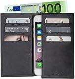 Edle Leder LUCA iPhone 6 / 6S Tasche klappbar Handmade in Germany Nubuk schwarz hochwertige Verarbeitung - Das LUCA Etui, die Alternative zur Geldbörse