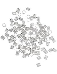 Phenovo 100pcs Granos Dreadlock Trenzado Trenza De Cabello Clip De Manguito 8mm