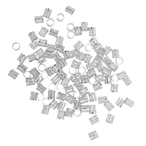 Phenovo 100pcs Microring Perlen Zöpfe Flechten Beads Haarverlängerung - silber, one size