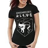 style3 Schroedingers Katze T-Shirt Damen, Farbe:Schwarz;Größe:M