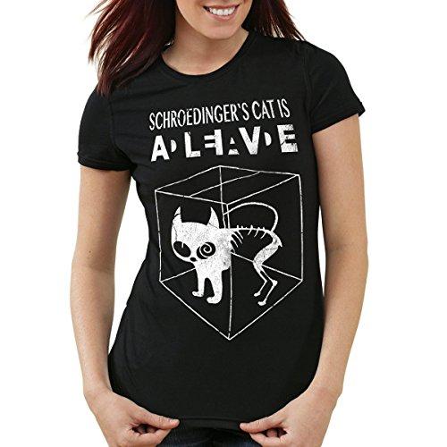 style3 Schroedingers Katze T-Shirt Damen, Farbe:Schwarz, Größe:M