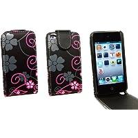 Kit Me Out IT Flip cover Finta pelle per Apple iPod Touch 4 (4 Generazione) - Nero, Rosa Tratti fioriti