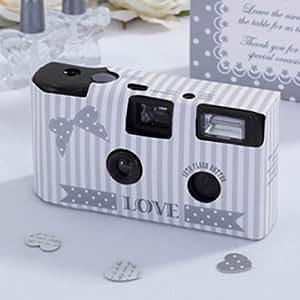 White Wedding and Party Lot de 10 appareils photo jetables pour mariage Style rétro Argent/blanc