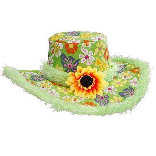 Widmann 2597V - Hut Ibiza mit Plüschrand und Sonnenblume für Erwachsene, One (Carnevale Kostüm Hippie)