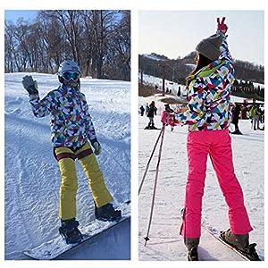 dewdropy Skianzug Damen Zweiteilig, Wasserdicht Winddicht Warme Outdoor-Sport Skianzug Jacke Für Frauen Snowboardjacke Mit Kapuze Und Hosenträger Skihose Outdoorjacke Damen Regenjacke