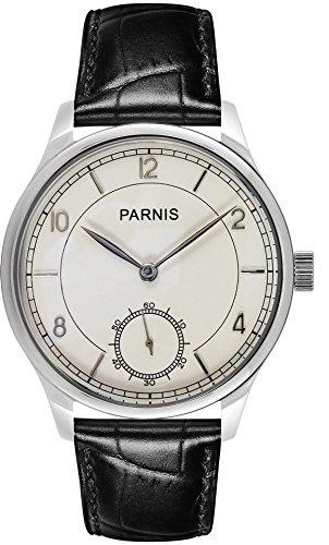 PARNIS 9022 klassische Handaufzug-Herrenuhr 44mm mechanische Herren-Armband-Uhr Edelstahl Lederarmband SeaGull ST36 Markenuhrwerk