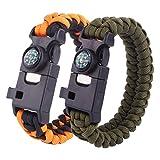 Survie Bracelet 6 en 1 Paracord militaire Survival Bracelet randonnée extérieure Camping d'urgence Hommes Gear Kit avec des outils de pêche, boussole, silex Starter, couteau en forme de T, sifflet de survie, lot de 2