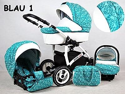 Kinderwagen whitelux, 3 in 1- Set Wanne Buggy Babyschale BLAU/MALACHIT
