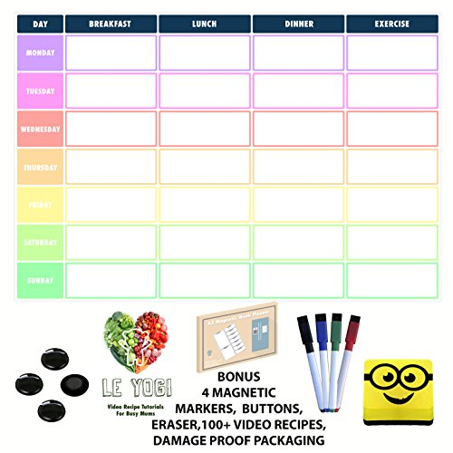 A3 Magnetic Daily Meal & Exercise Planner. Dry Erase Diet Organiser Memo Board With Magnetic Eraser, 4 Magnetic Markers, 4 Magnetic Buttons, 100+ Video Recipes, Ideal for Bodybuilding, Weight Watchers, Ketogenic, Atkins and Diet Plans