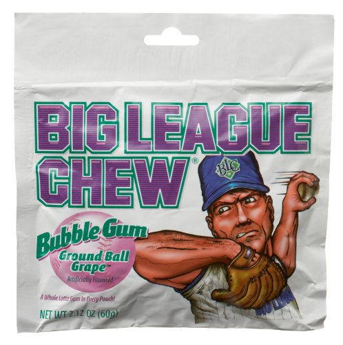 Big League Chew, Ground Ball Grape Bubble Gum, 2.12-Ounce Pouches (Pack of 12) by Big League Chew (Big Gum League)