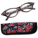 Lesebrille Damen Herren Modern Federscharnier Blumen Lesehilfe Sehhilfe Brille Leicht Vintage mit Brillentasche von 1.0 1.5 2.0 2.5 3.0 3.5 4.0