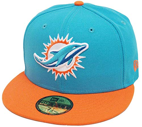 New Era Miami Dolphins Teal Orange 2 Tone On Field NFL Cap 59fifty 5950 Fitted Limited Edition Two Tone Fitted Cap
