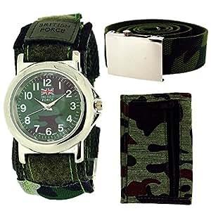 British Forces 1113–Montre pour hommes, bracelet en tissu multicolore