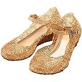 Katara - Chaussures de princesse, ballerines de déguisement pour filles en bleu, beige, rose, lilas ou blanc, avec talon compensé, sandales de soirée pour enfants - Tailles EU 26-33