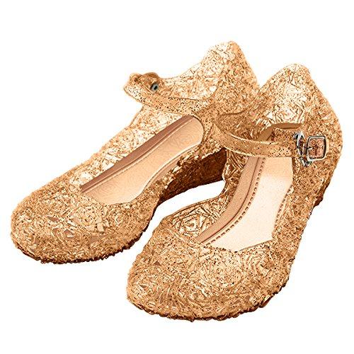 Katara - Zapatos para disfraz de princesa Bella, sandalias con cuña para niñas de talla UE. 27 color dorado