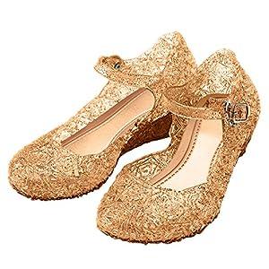 Katara-Zapatos De Princesa Con Cuña Disfraz Niña, color dorado, EU 26 (Tamaño del fabricante: 28) (ES10)