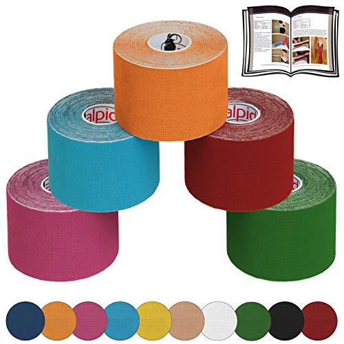 ALPIDEX 5 Rollen Kinesiologie Tape 5 m x 5,0 cm E-Book Anwendungsbroschüre Elastisches Tape Set, Farbe:bunt
