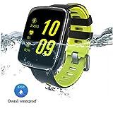 YAMAY® Wasserdichte IP68 Smartwatch Sport Bluetooth FitnessTracker-Uhr mit Herzfrequenz-Monitor, Schrittzähler, Schlaf-Monitor Setz-Alarm, Stoppuhr, SMS-, Anruf-Benachrichtigung Push / Kamera-Fernsteuerung Musik für Android und iOS Telefon (Green)