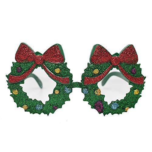 Ouken Weihnachten Brille Kostüm Brille Form Partybevorzugungen Kranz-Glas-Neuheit -