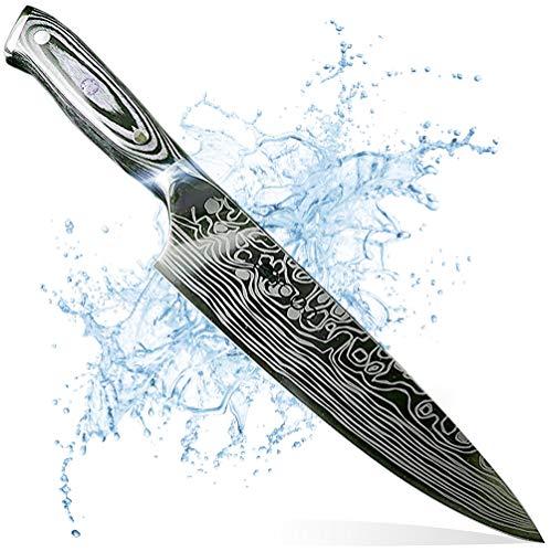 COOKOA - Couteau Japonais en Acier Allemand 1.4116 : Acier trempé inoxydable, dureté 57HRC (couteaux de cuisine allemands professionnels)