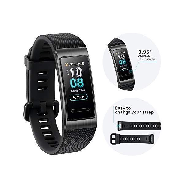 Huawei Band 3 Pro Fitness Wristband Activity Tracker Black Built In GPS Colorful Large Screen5ATMUp To 14 Days Usage