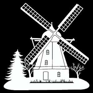 Windmühle Wandtattoo Windmühle Wandaufkleber in 3 Größen und 19 Farben (29x30cm weiß)