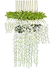 Fourwalls Artificial Polyester and Plastic Hanging Flower Vine (37 cm x 1 cm x 110 cm, White, Set of 6)