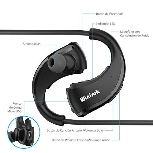 Auriculares Bluetooth Correr Winisok Auriculares Bluetooth 4.1 Manos Libres Impermeable para Deporte con Micrófono Auriculares In Ear Inalámbricos Deportivos con Cancelación de Ruido para iphone Huawei Samsung Sony