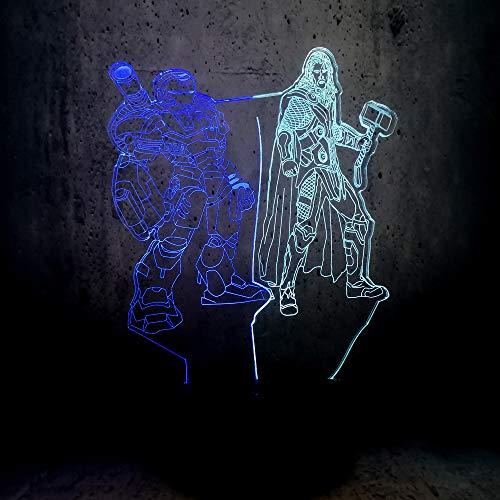 Tianyifengg 3D-LED-7 Farbe-Fernbedienung-Nachtlicht-gemischte Doppellampe Stahl Kinder Geschenk Teenager Schlafzimmer Schreibtisch Dekoration Film Fan Lava Beleuchtung Junge -