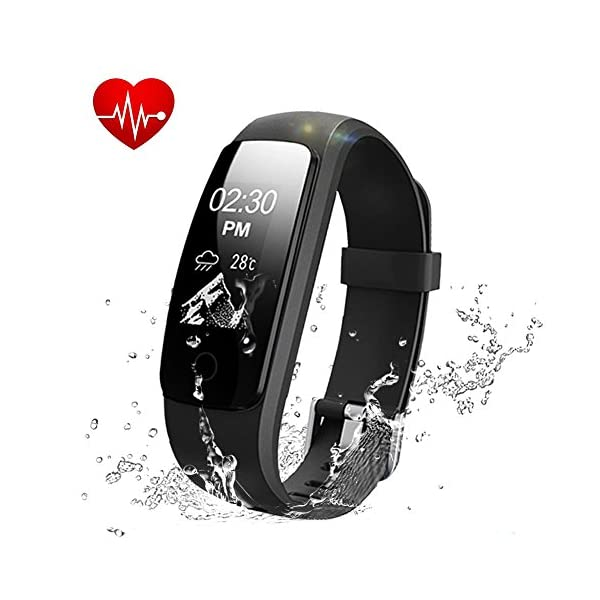 Sunfit Fitness Tracker Heart Rate Monitor Activity Tracker Waterproof Smart Bracelet Bluetooth Wireless Pedometer Wristband Sleep Monitor Smartwatch For Android And IOS Smartphones