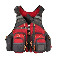 COEWSKE Fly Fishing Vest Hollow Out Adjustable Breathable Camping Hunting Fishing Photography Vests for Men and Women (Red)